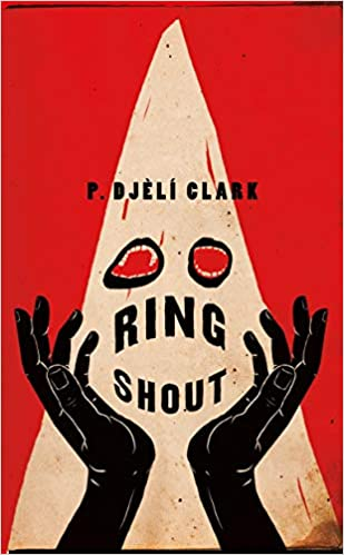 Bright red cover with ghostly image of a figure with mouths for eyes. Black hands rise up.